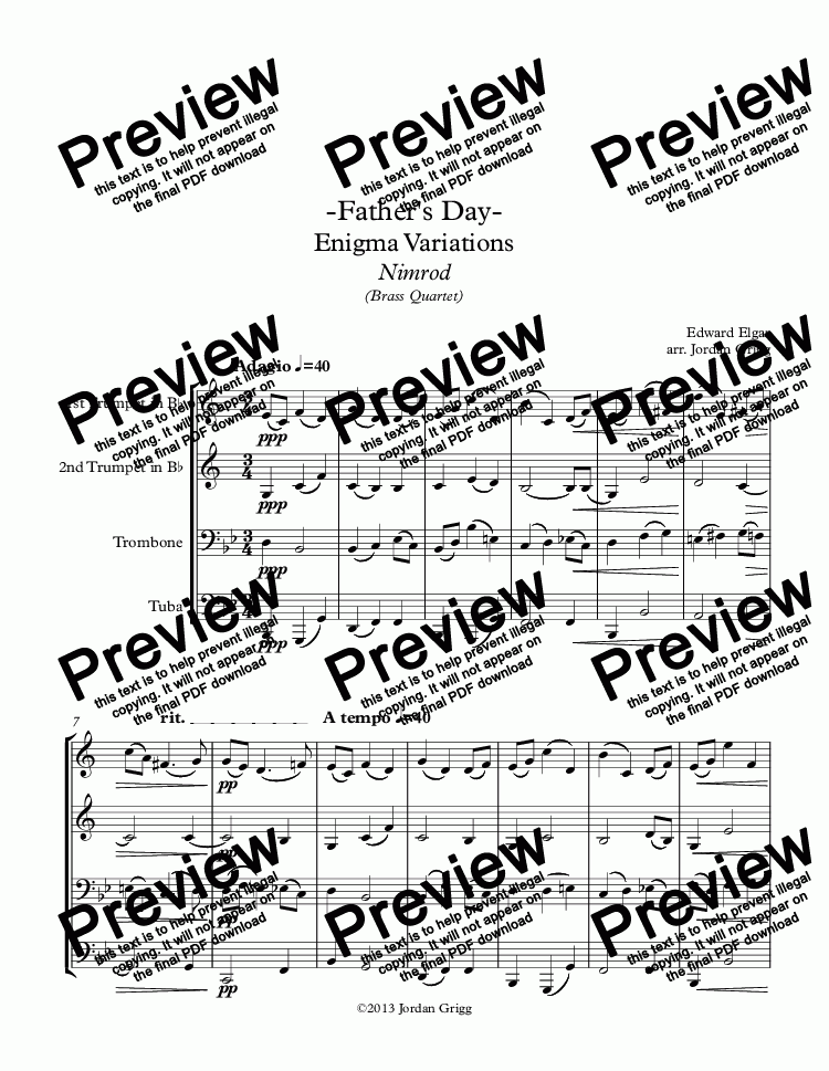 page one of -Father's Day- Enigma Variations Nimrod (Brass Quartet)