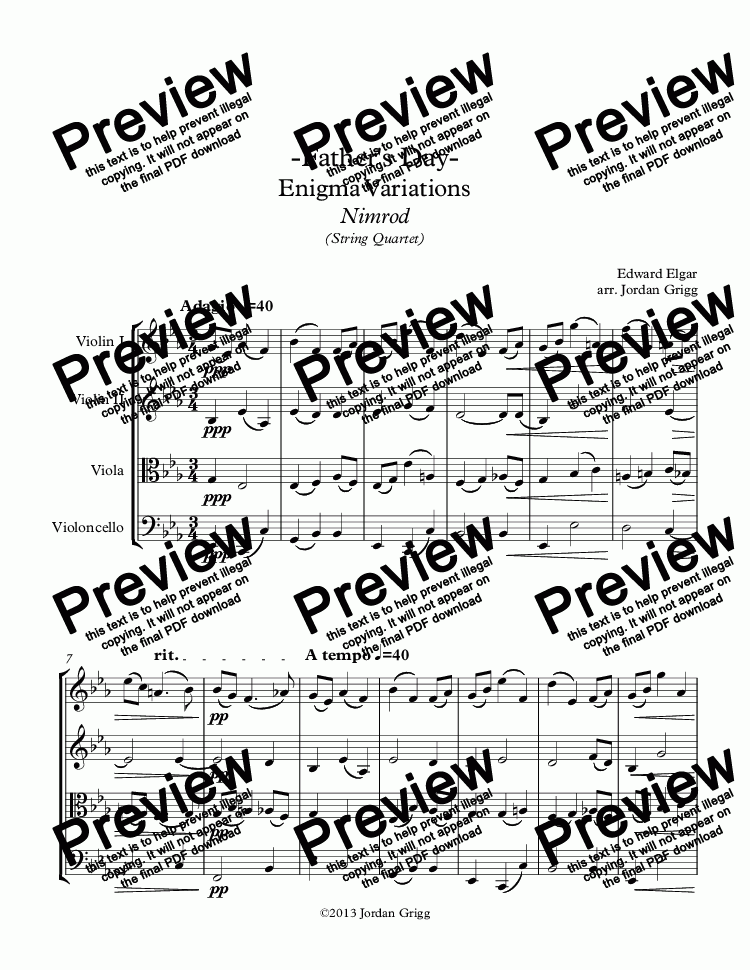 page one of -Father's Day- Enigma Variations Nimrod (String Quartet)