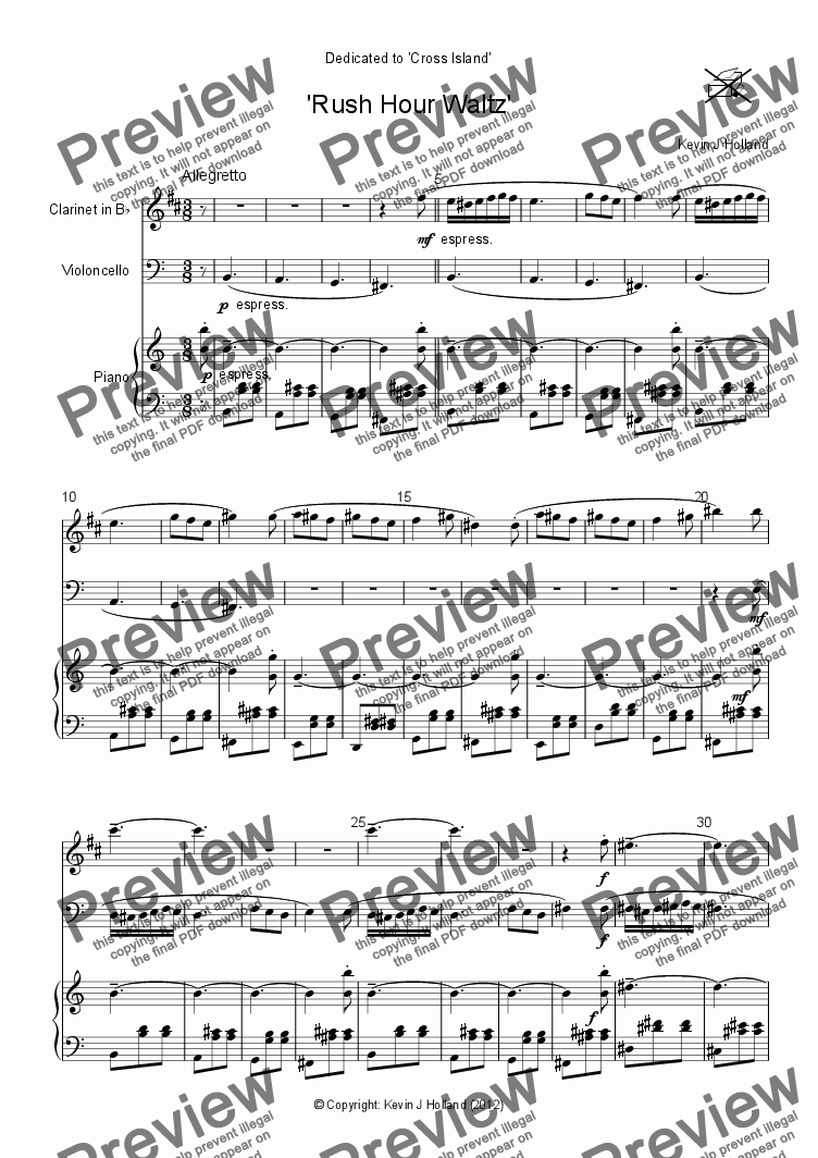 page one of 'Rush Hour Waltz'
