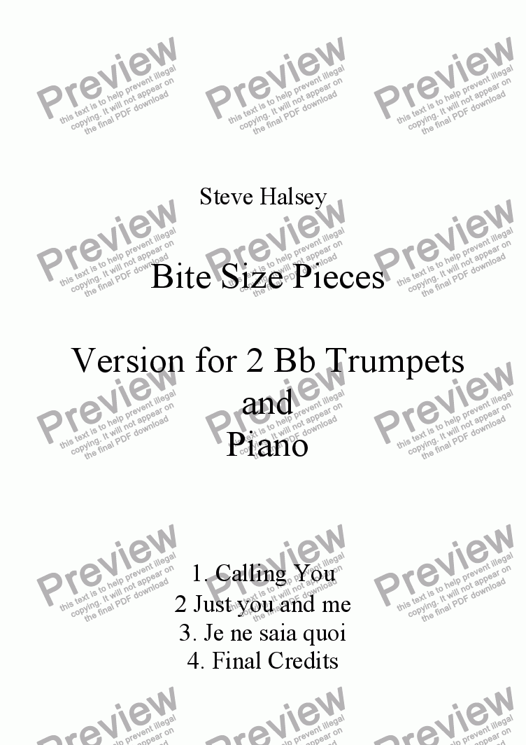 page one of Bite Size Duets for 2 Trumpets and Piano