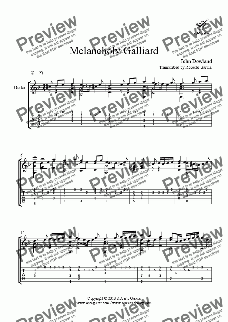 page one of Melancholy Galliard for solo guitar