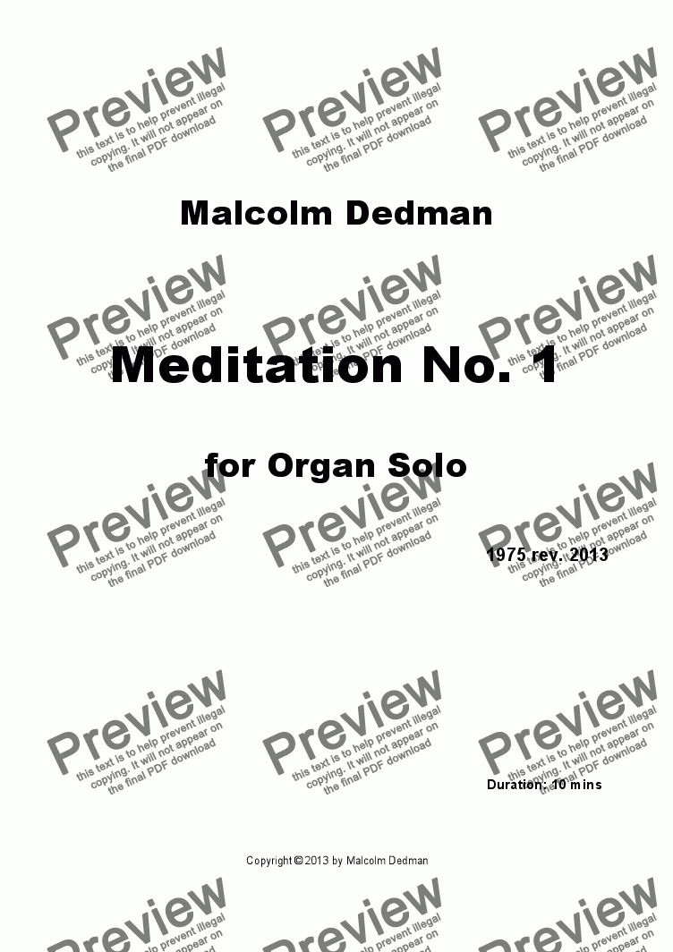 page one of Meditation No. 1