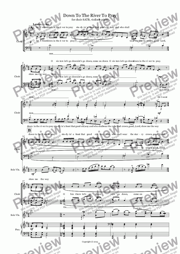 page one of Down To The River To Pray (choir SATB + violin + piano)ASALTTEXT