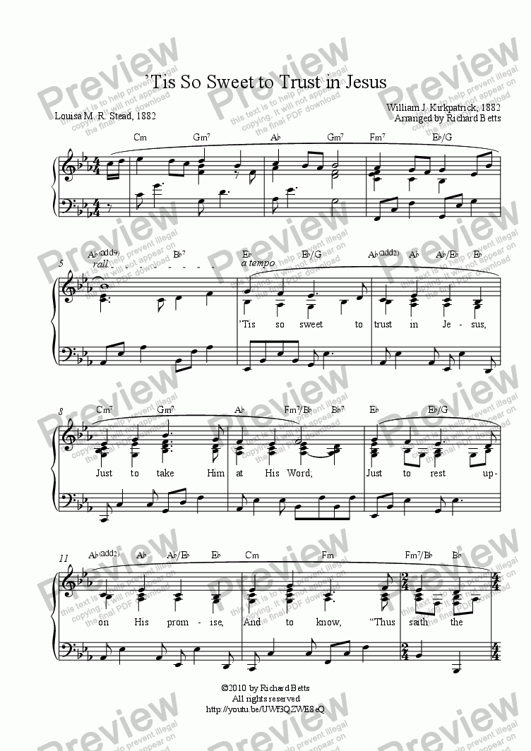 page one of 'Tis So Sweet to Trust in Jesus - Hymn Piano Solo