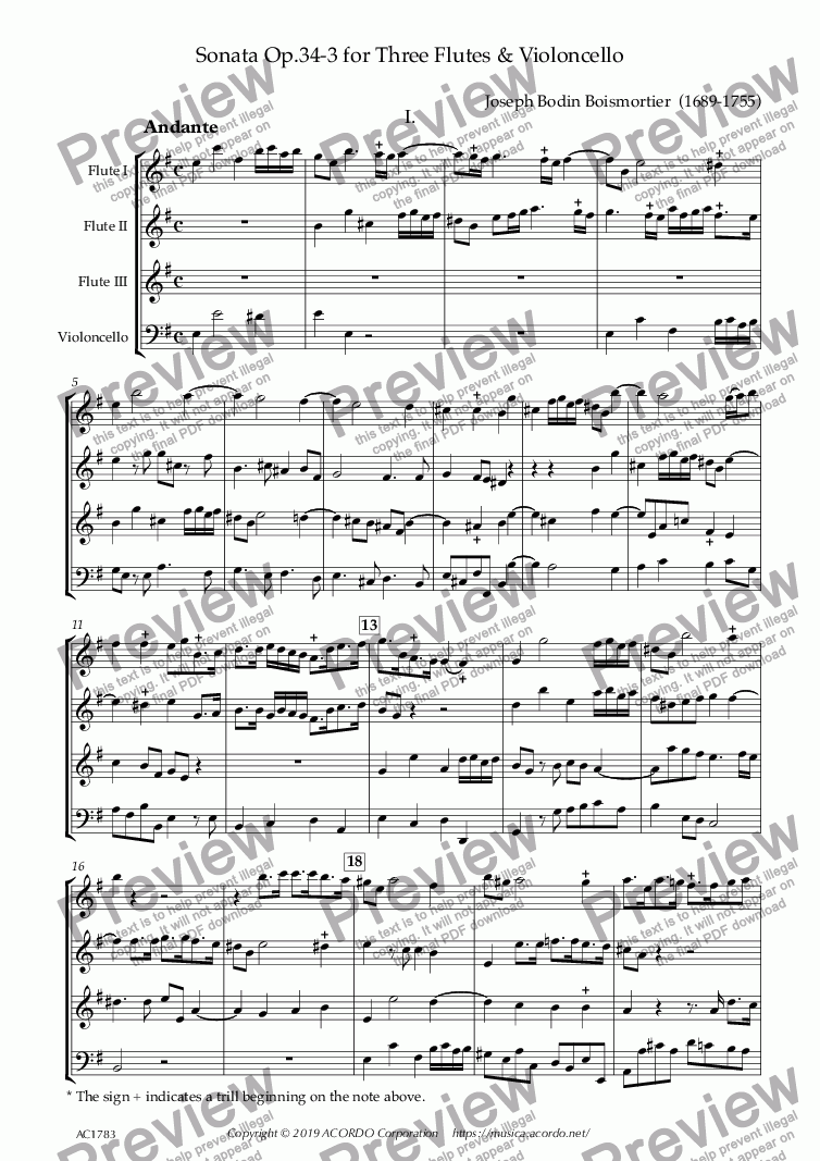 page one of Sonata Op.34-3 for Three Flutes & Violoncello