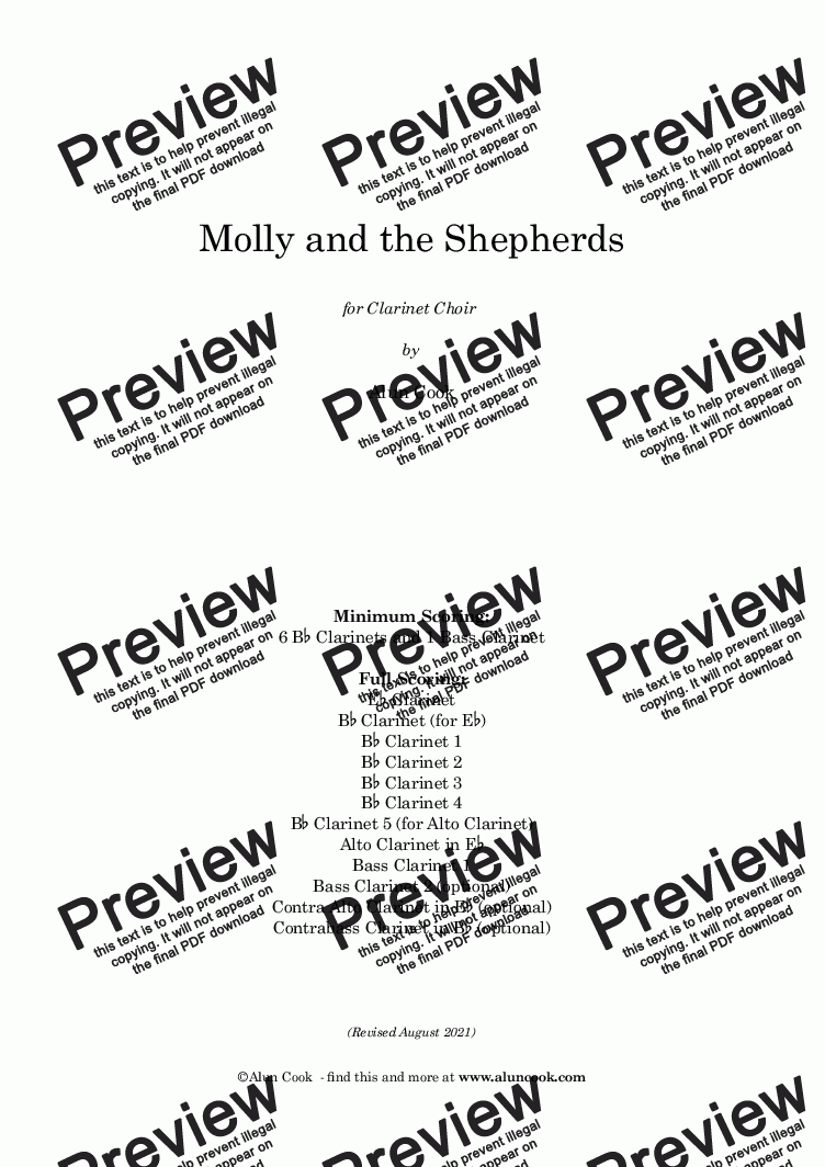 page one of Molly and the Shepherds! (Clarinet Choir)