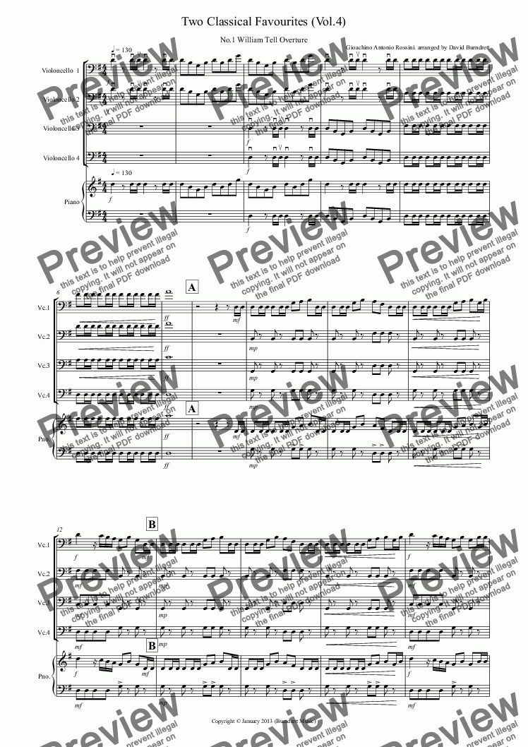 page one of 2 Classical Favourites for Cello Quartet (volume four)