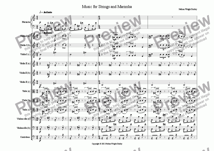 page one of Music for Strings and Marimba