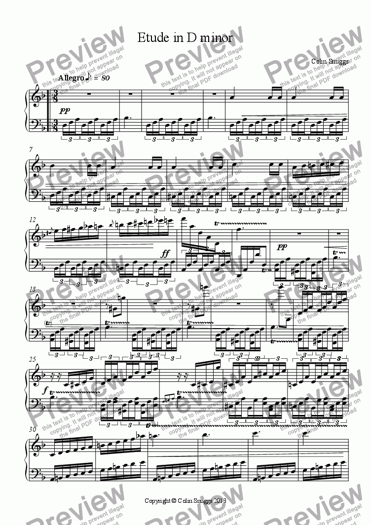 page one of Etude No. 6 in D minor