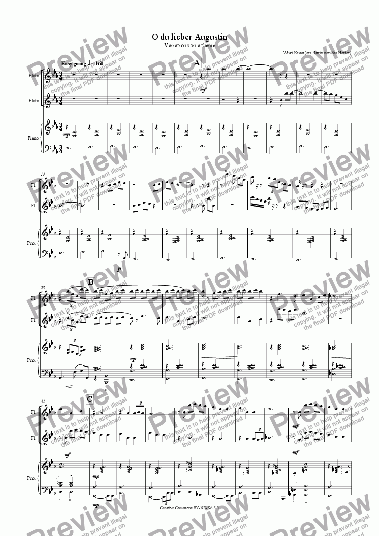 page one of O du lieber Augustin (flute duet + piano)