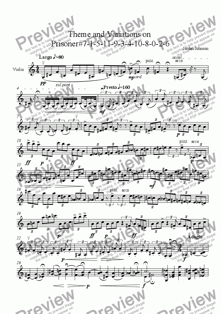 page one of Theme and Variations on  Prisoner#7-1-5-11-9-3-4-10-8-0-2-6