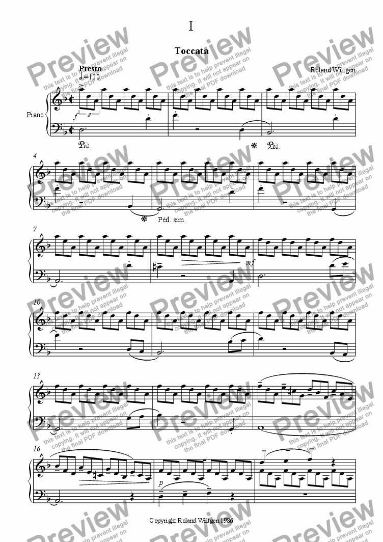 "page one of Toccata (from suite ""In D"")"