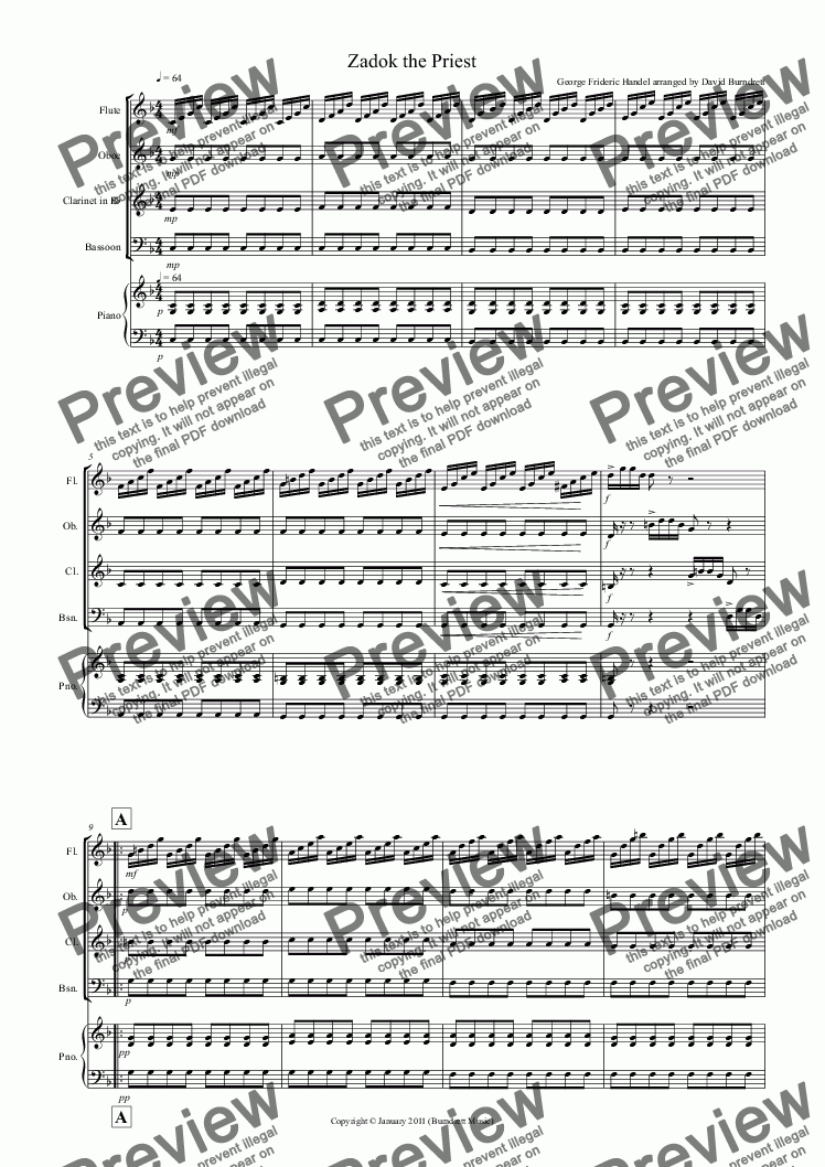 page one of Zadok The Priest for Wind Quartet