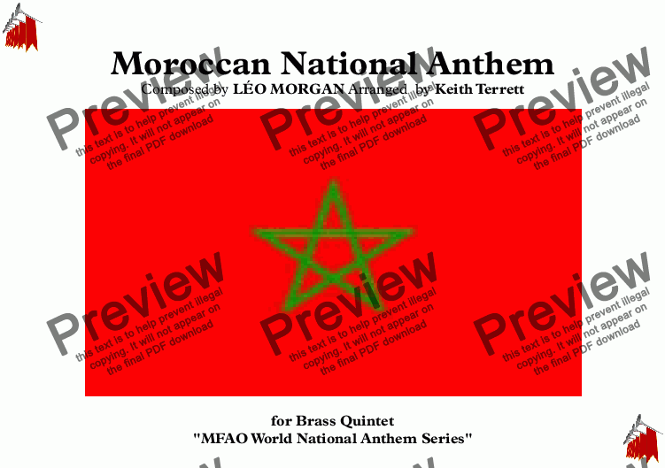 page one of Moroccan National Anthem for Brass Quintet (MFAO World National Anthem Series)