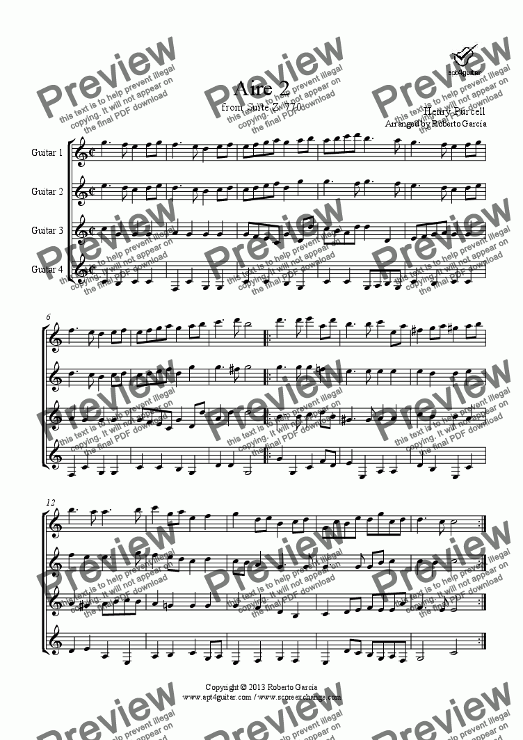 page one of Aire 2 (from suite Z.770) for guitar quartet