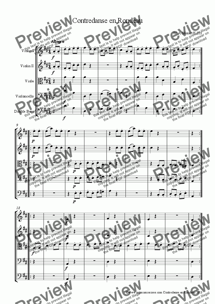 page one of Mozart Contredanse en Rondeau K.213 for String Orchestra