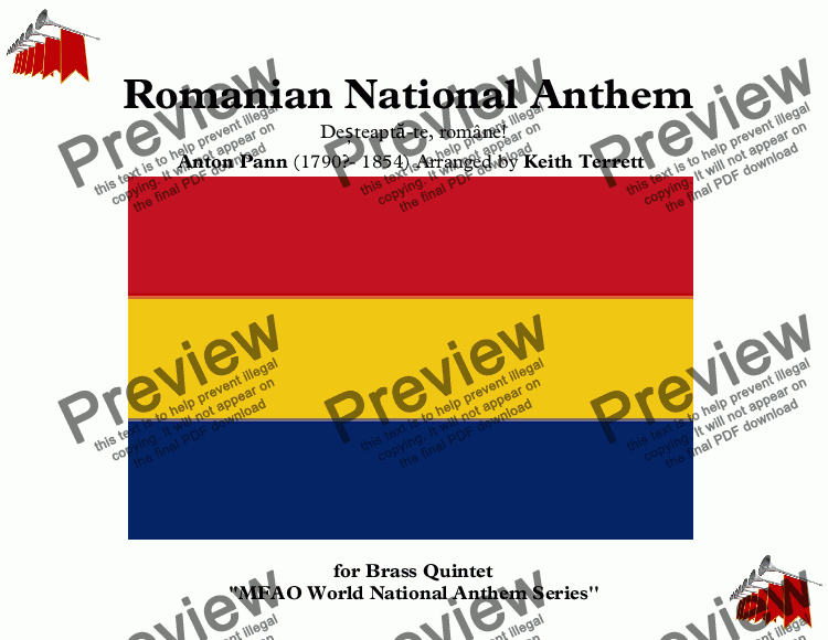 page one of Romanian National Anthem for Brass Quintet (MFAO World National Anthem Series)