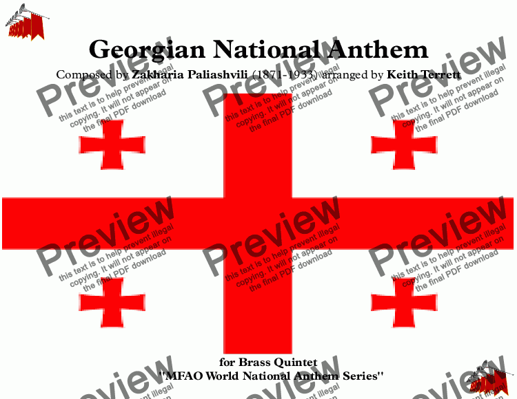page one of Georgian National Anthem ''Tavisupleba'' for Brass Quintet (MFAO World  National Anthem Series)