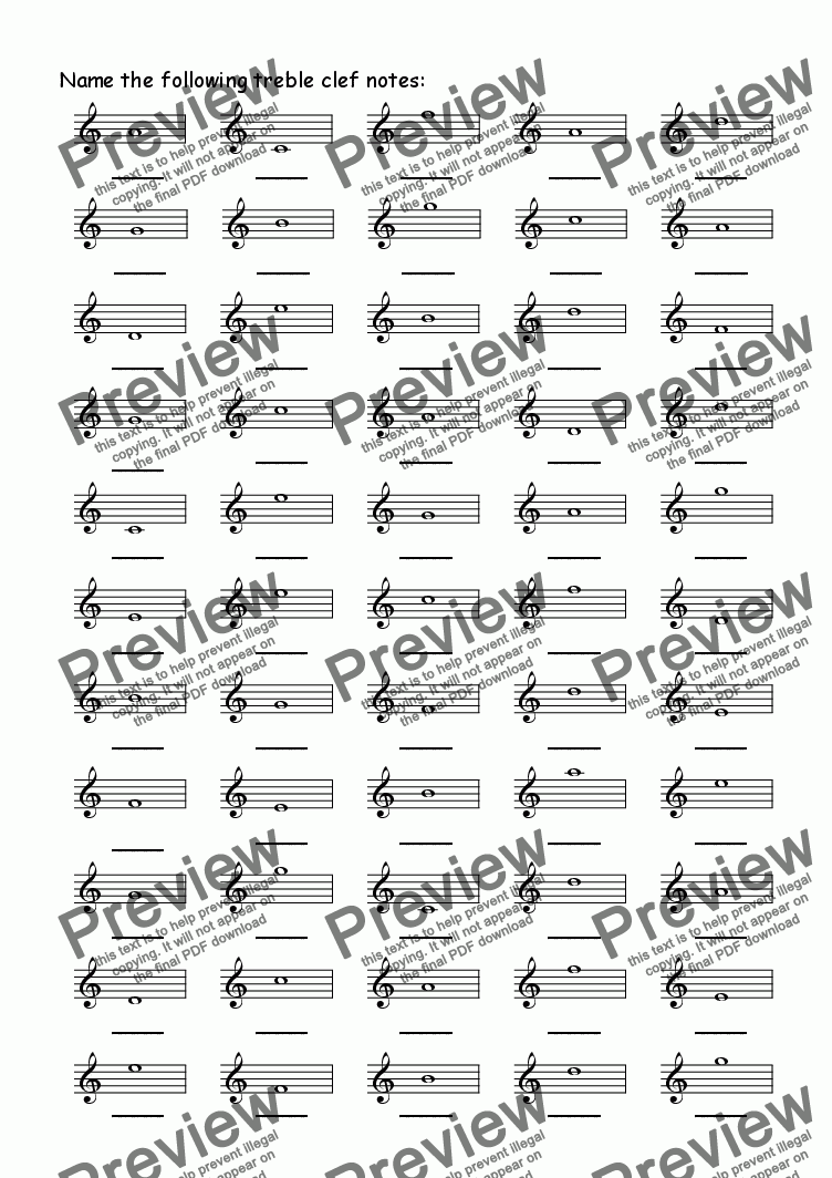 page one of Treble Note Naming 1