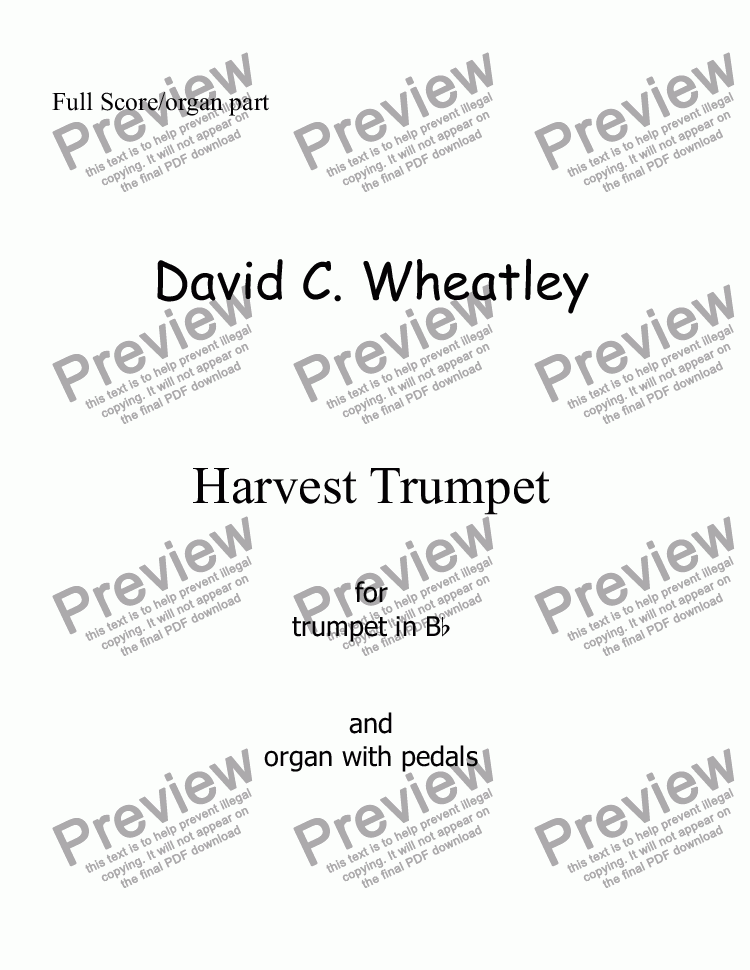 page one of Harvest Trumpet for trumpet in Bb and organ by David Wheatley
