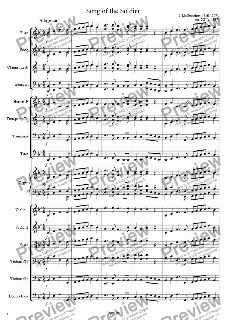 page one of Song of the Soldier
