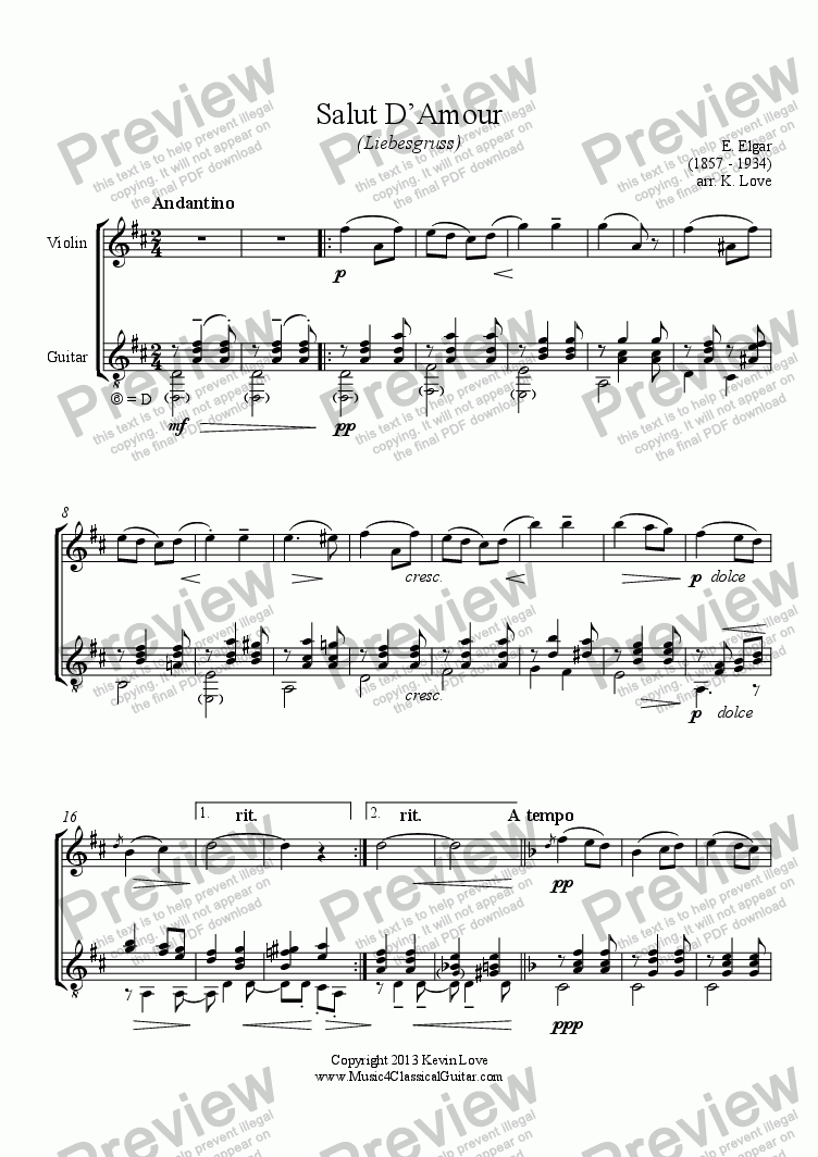 page one of Salut D'Amour (Violin and Guitar)