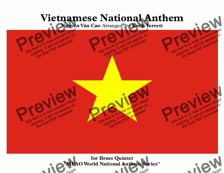 page one of Vietnamese National Anthem for Brass Quintet (MFAO World National Anthem Series)