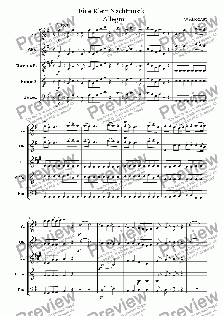 page one of Mozart: Serenade no 13 in G K525 (Eine kleine Nachtmusik) Mvt. I.Allegro