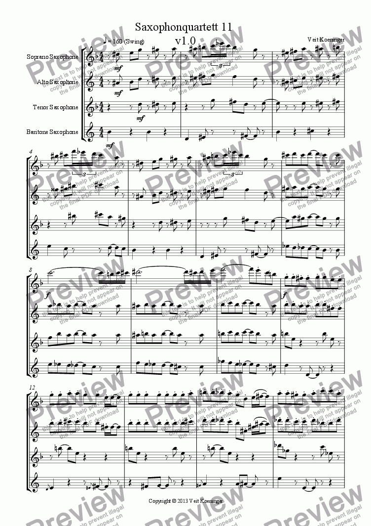 page one of Saxophone quartet 11
