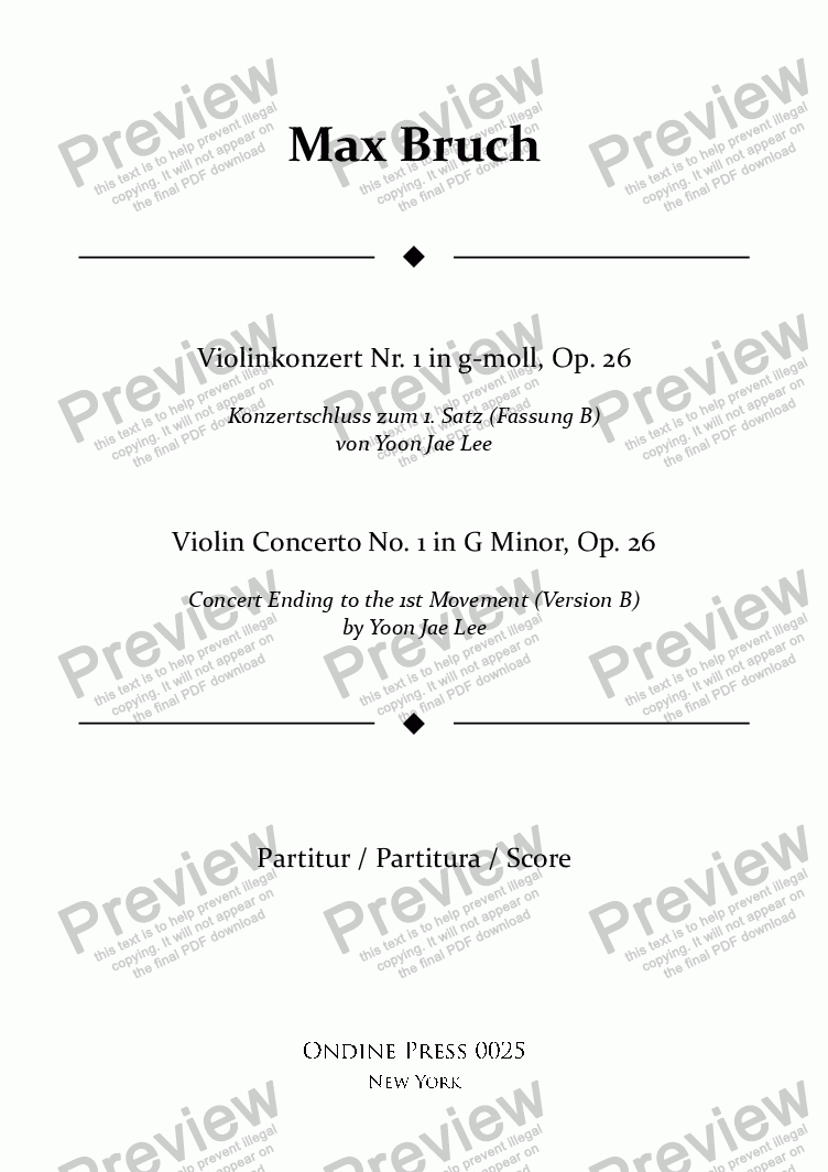 page one of Bruch: Violin Concerto No. 1 in G Minor, Op. 26: I. concert ending by Yoon Jae Lee (Version B for Piano)