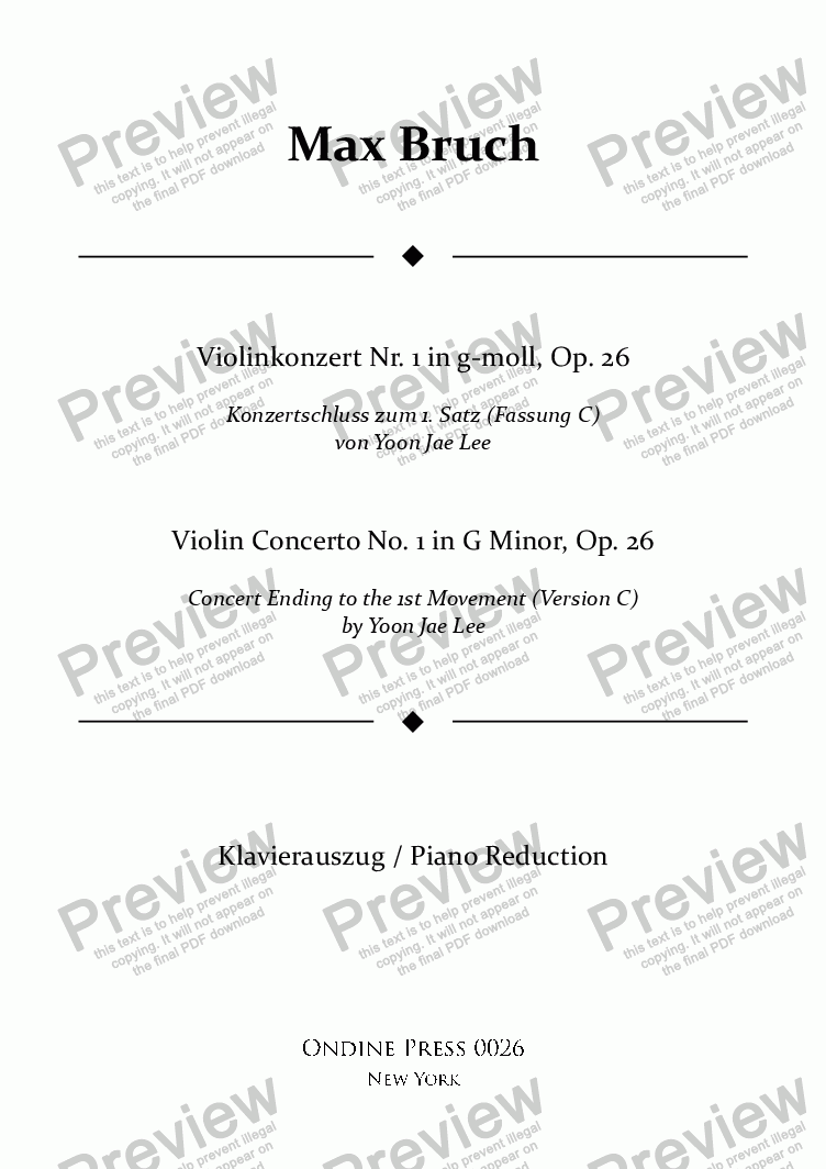 page one of Bruch: Violin Concerto No. 1 in G Minor, Op. 26: I. concert ending by Yoon Jae Lee (Version C for Piano)