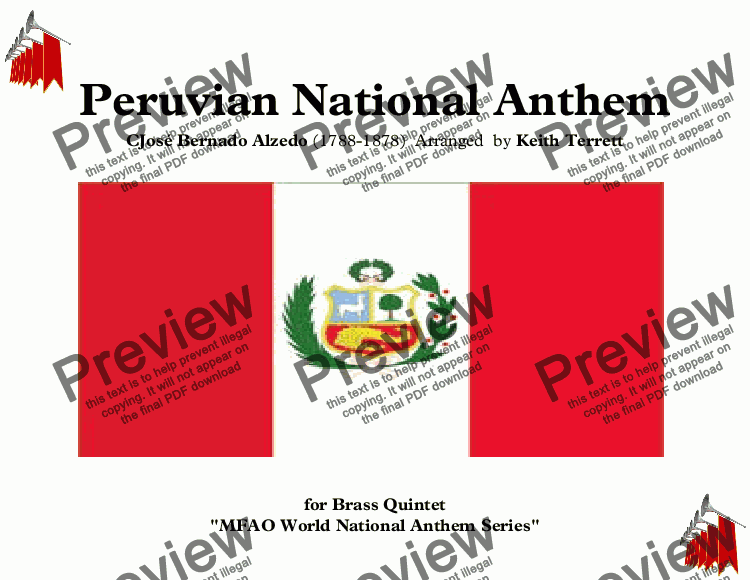 page one of Peruvian National Anthem for Brass Quintet (MFAO World National Anthem Series)ASALTTEXT
