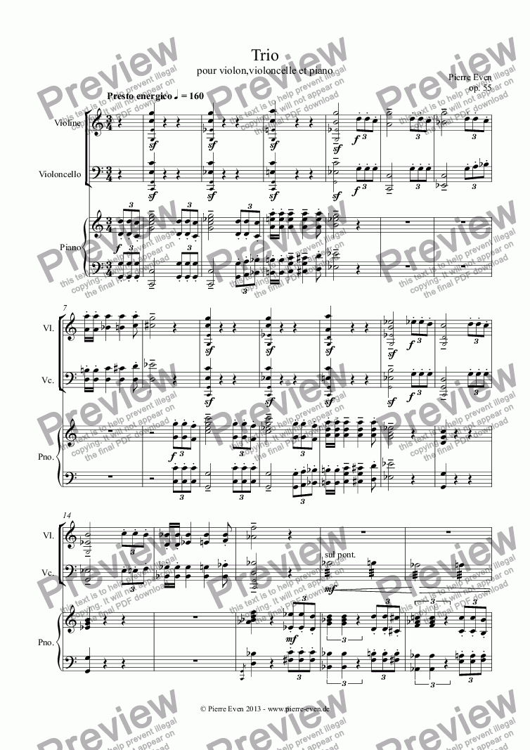 page one of Trio for Violin, Cello and Piano op. 55 ASALTTEXT