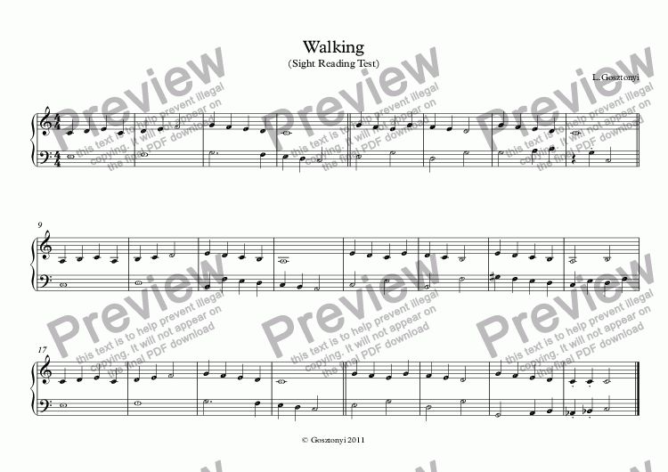 page one of Walking (Sight Reading Test)