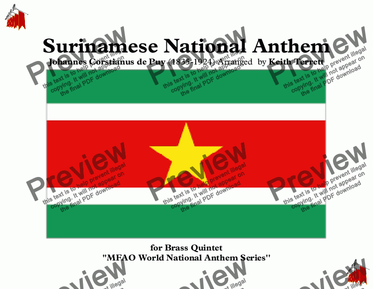 page one of Surinamese National Anthem for Brass Quintet (MFAO World National Anthem Series)