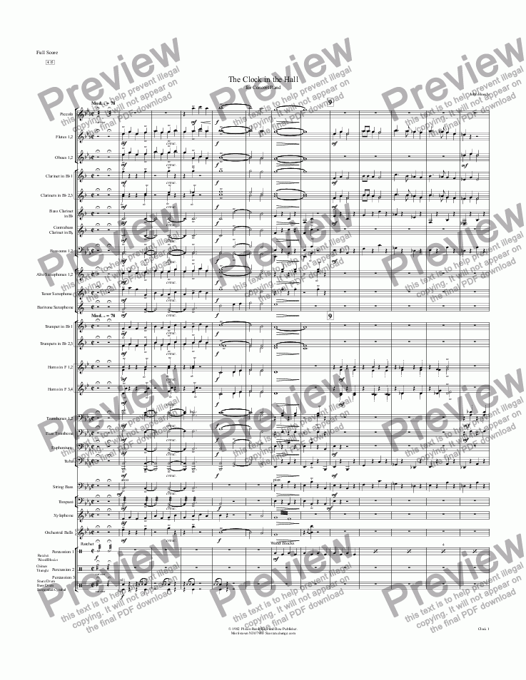 page one of Clock in the Hall, The- concert band