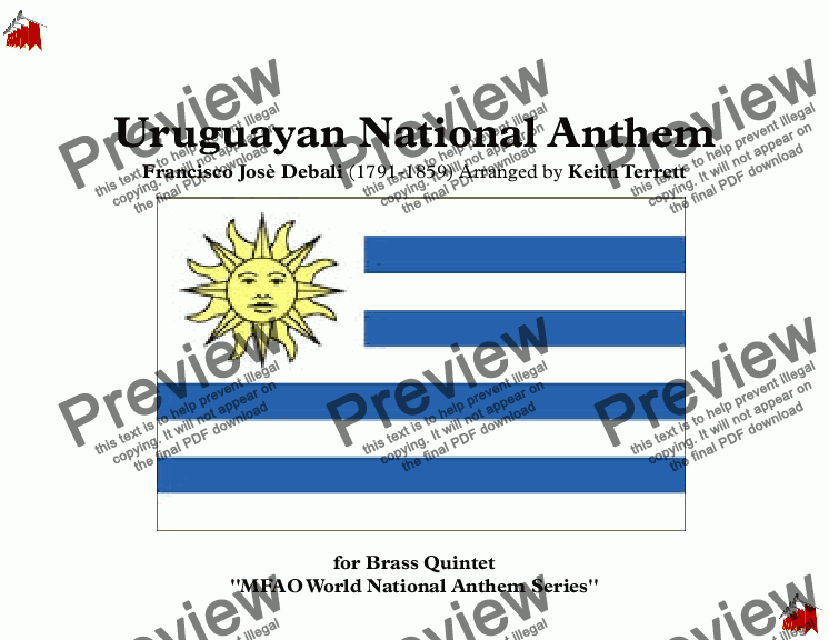 page one of Uruguayan National Anthem for Brass Quintet (MFAO World National Anthem Series)