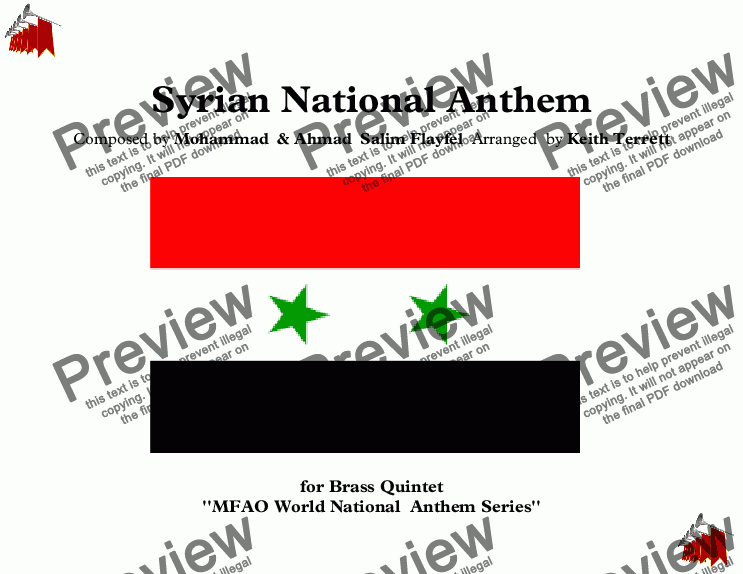 page one of Syrian National Anthem for Brass Quintet (MFAO World National Anthem Series)
