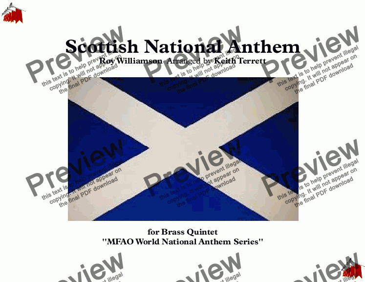 page one of Scottish National Anthem for Brass Quintet (MFAO World National Anthem Series)