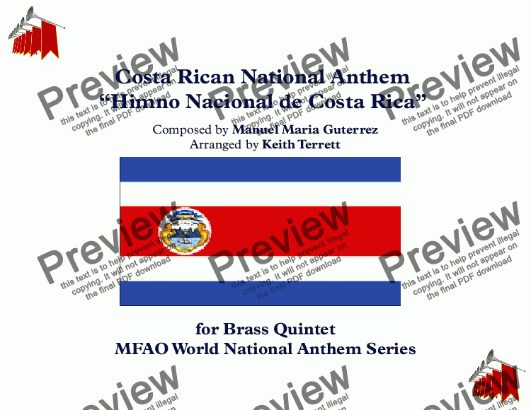 page one of Costa Rican National Anthem for Brass Quintet (MFAO World National Anthem Series)