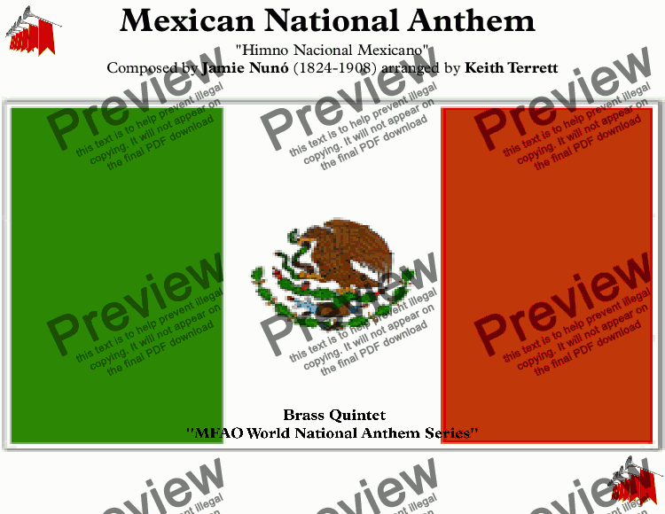 page one of Mexican National Anthem for Brass Quintet (MFAO World National Anthem Series)