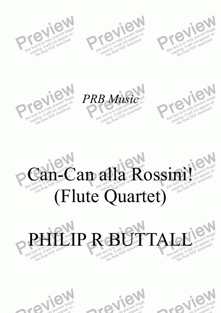 page one of Can-Can alla Rossini! (Flute Quartet)