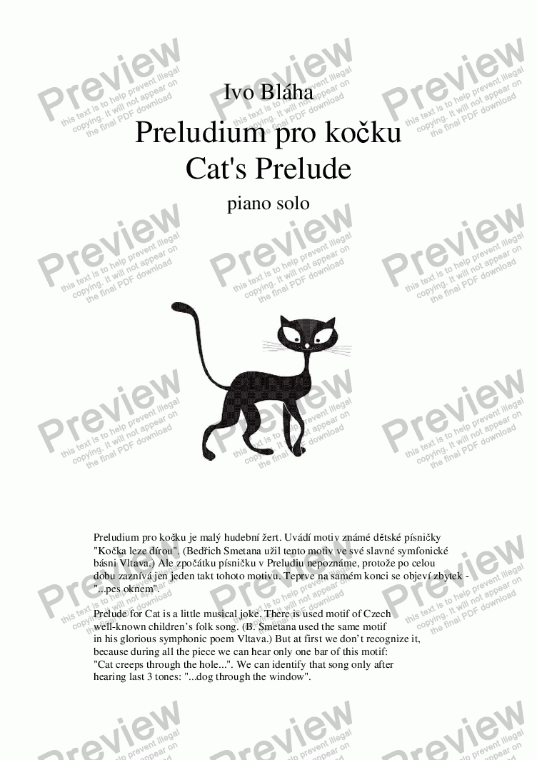 page one of PRELUDE FOR CAT (Preludium pro kočku) - piano solo