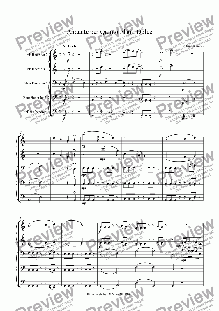 page one of Andante per Quinto Flauti Dolce