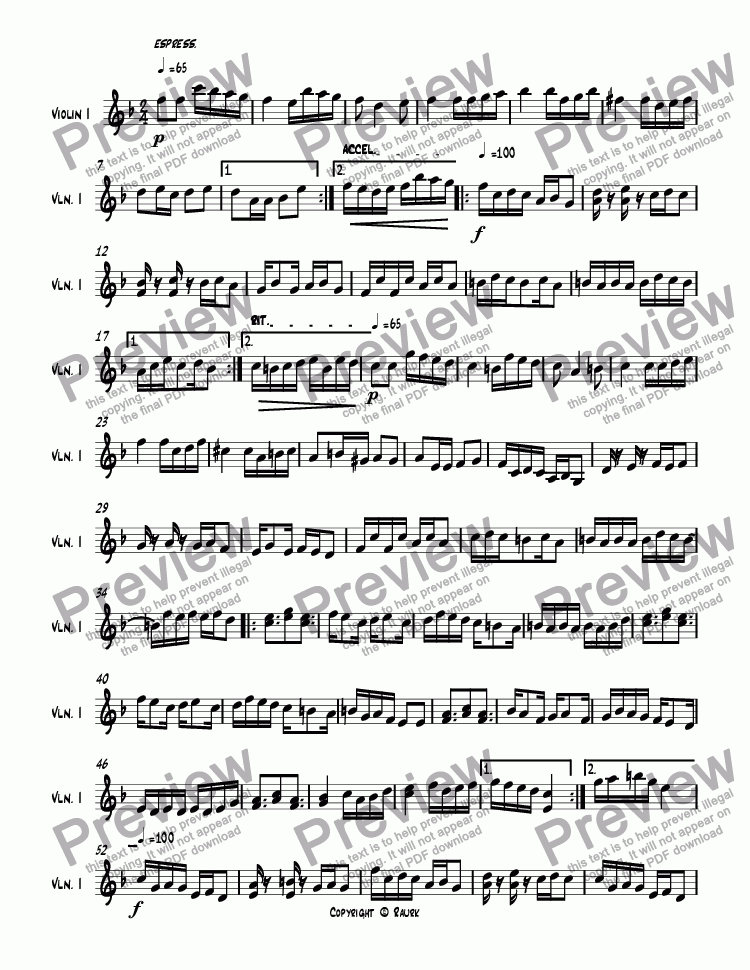 page one of Song for solo violin in F Major, Op.249.sib