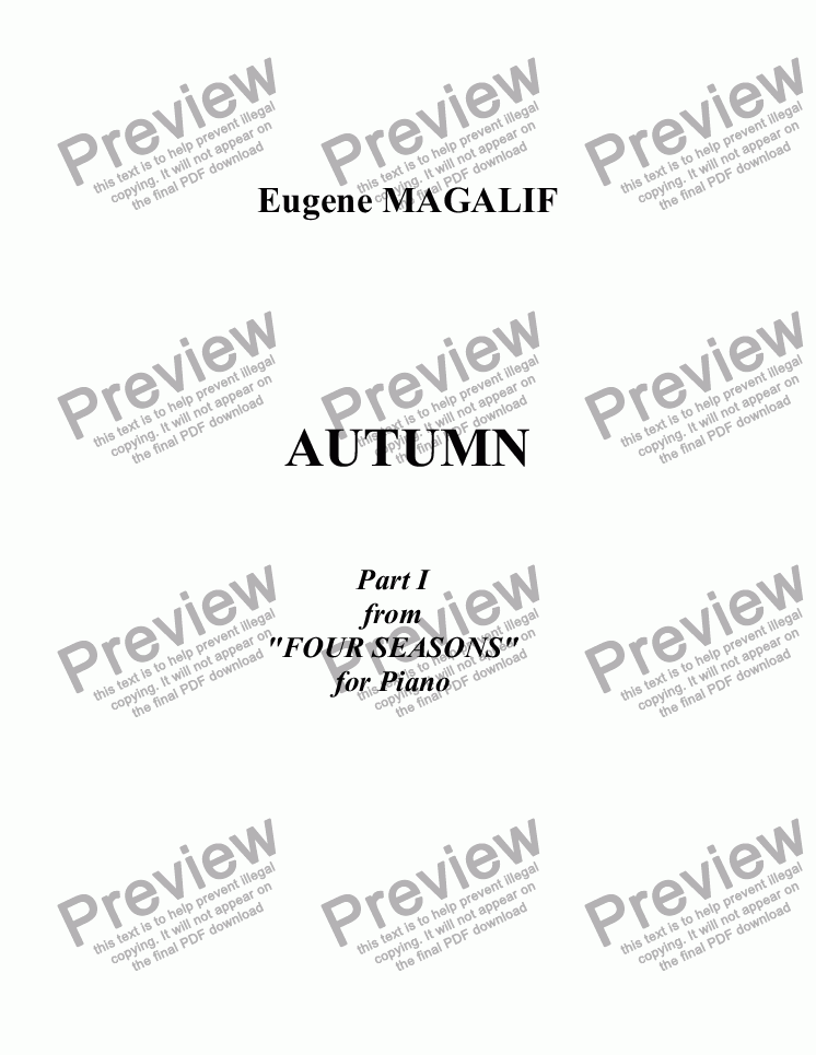 page one of Four Seasons for Piano. Part I. AUTUMN