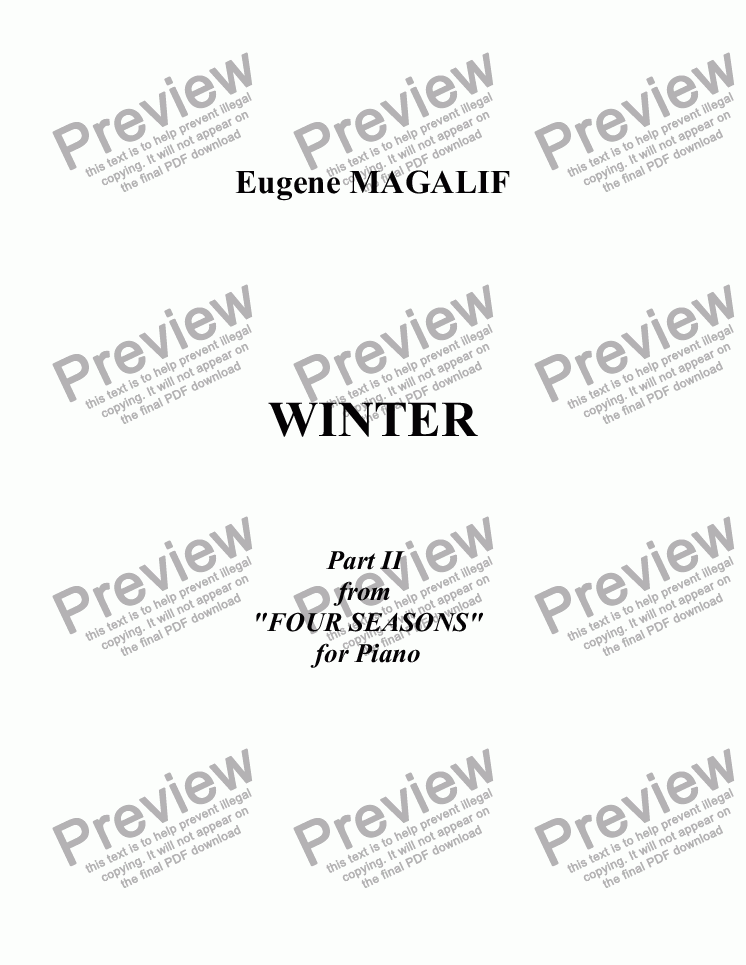 page one of Four Seasons for Piano. Part II. WINTER