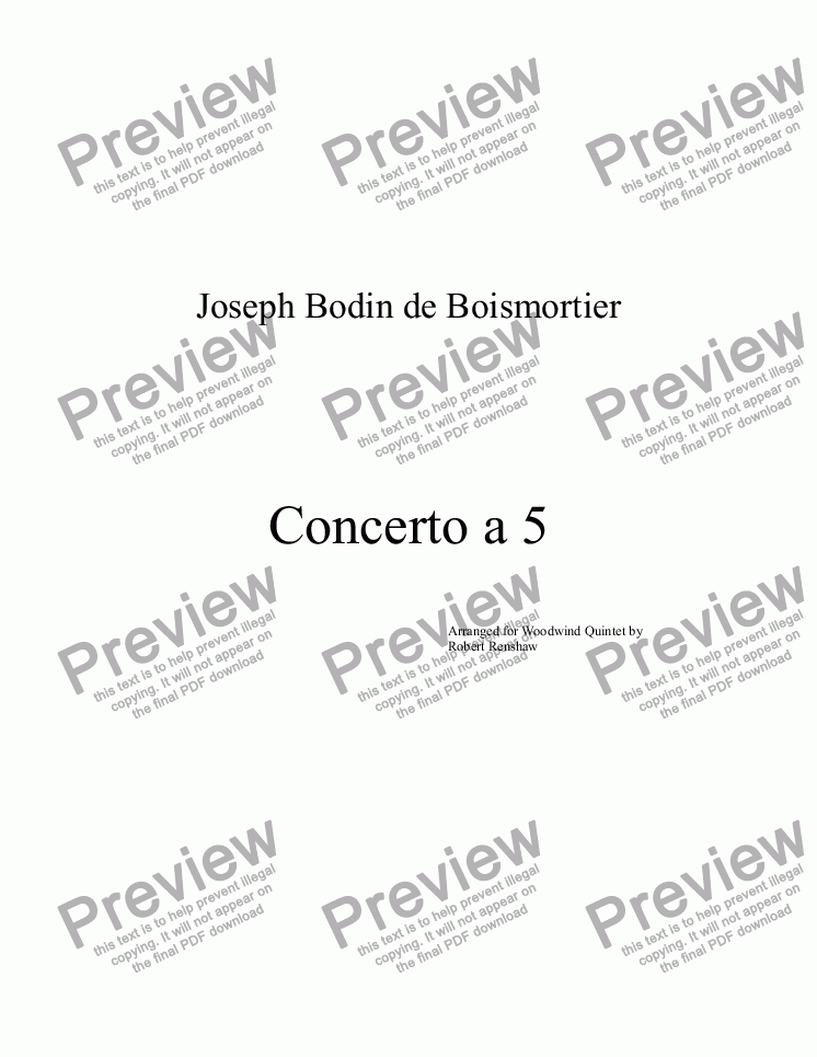 page one of Concerto a 5 (FL, Ob, Cl, Hrn, Bsn)