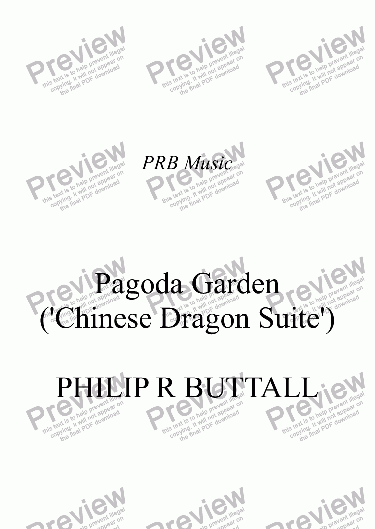 page one of Pagoda Garden ('Chinese Dragon Suite'