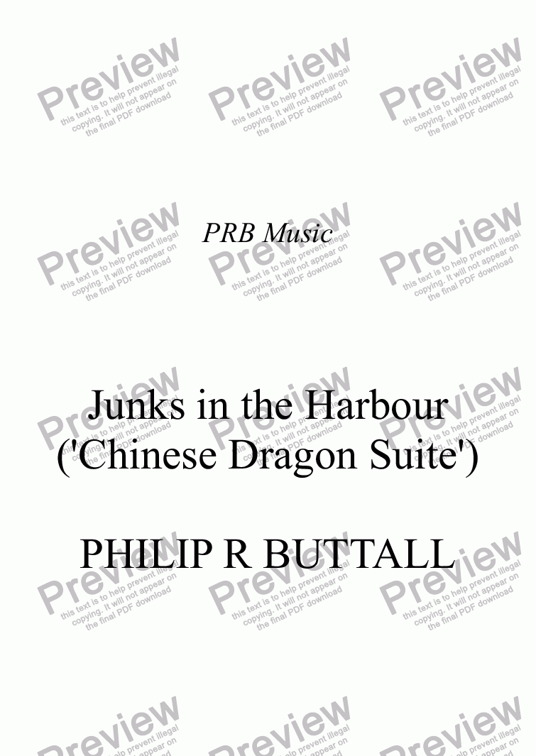 page one of Junks in the Harbour ('Chinese Dragon Suite')